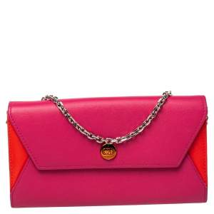 Dior Pink/Orange Leather Addict Rendez-Vous Wallet on Chain