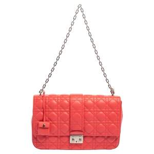 Dior Pink Cannage Leather Large Miss Dior Flap Bag