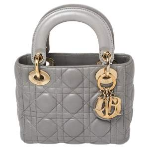 Dior Metallic Grey Cannage Leather Mini Lady Dior Tote
