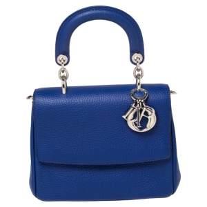 Dior Blue Leather Mini Be Dior Top Handle Bag