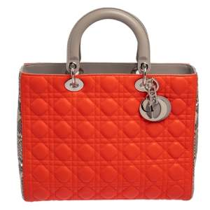 Dior Orange/Grey Leather and Python Large Lady Dior Tote