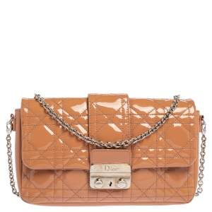 Dior Beige Cannage Patent Leather Miss Dior Promenade Shoulder Bag