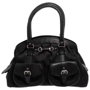 Dior Black Oblique Canvas and Leather My Dior Pocket Frame Satchel