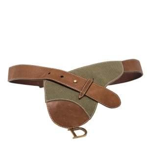Dior Brown/Green Canvas and Leather Vintage Saddle Belt Bag 80CM