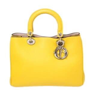 Dior Yellow Leather Medium Diorissimo Shopper Tote