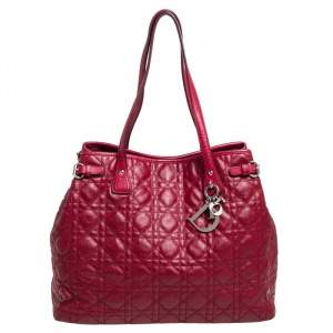 Dior Red Cannage Coated Canvas and Leather Medium Panarea Tote
