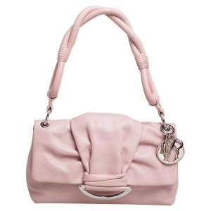 Dior Pink Leather Demi Lune Flap Bag