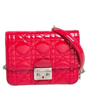 Dior Red Cannage Patent Leather Miss Dior Crossbody Bag