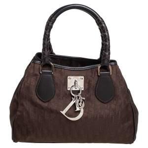 Dior Brown Oblique Nylon And Leather Shoulder Bag