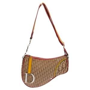 Dior Multicolor Oblique Canvas and Leather Trim Rasta Line Trotter Saddle Bag