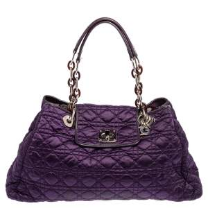 Dior Purple Satin Cannage Satin Charming Lock Tote