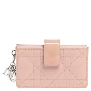 Dior Powder Pink Cannage Patent Leather Lady Dior Gusset Card Case