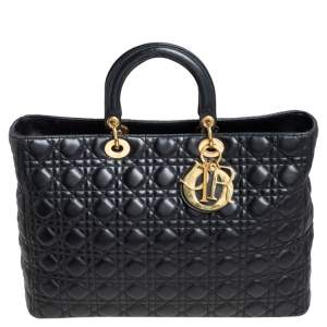 Dior Black Lambskin Leather Extra Large Lady Dior Tote