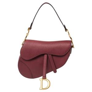 Dior Dark Red Leather Saddle Bag