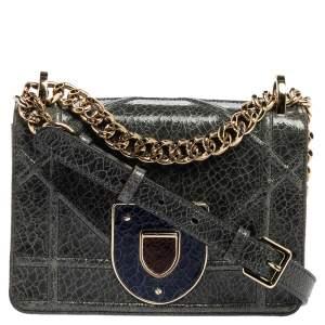 Dior Green Crinkled Patent Leather Diorama Shoulder Bag