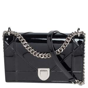 Dior Black Patent Leather Medium Diorama Flap Shoulder Bag