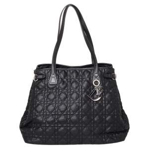 Dior Black Cannage Coated Canvas and Leather Medium Panarea Tote