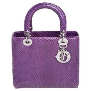 Dior Purple Python Medium Lady Dior Tote