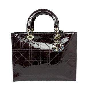 Dior Black Cannage Patent Leather Lady Dior Bag