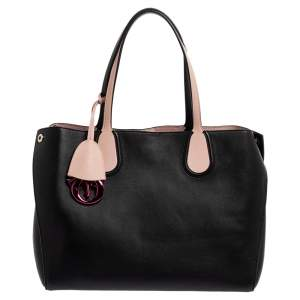 Dior Black/Pink Leather Small Dior Addict Shopper Tote