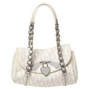 Dior White Oblique Coated Canvas and Leather Romantique Trotter Flap Bag