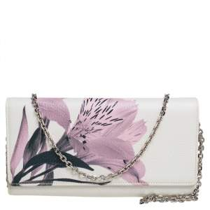 Dior Pink/White Leather Diorissimo Alstroemeria Flower Wallet On Chain