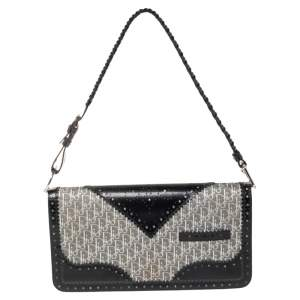 Dior Black/Grey Diorissimo Canvas and Leather Braided Strap Flap Baguette