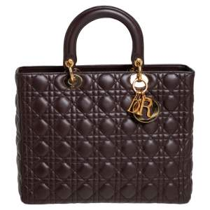 Dior Dark Brown Cannage Leather Large Lady Dior Tote