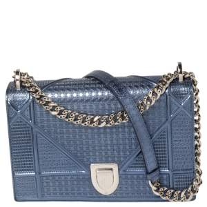 Dior Metallic Blue Micro Cannage Leather Medium Diorama Shoulder Bag