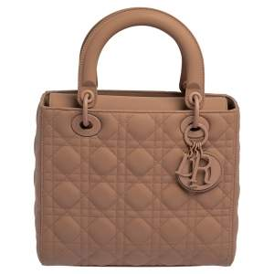 Dior Nude Ultra Matte Cannage Quilted Leather Medium Lady Dior Tote
