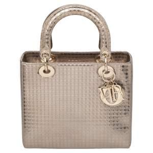 Dior Metallic Gold Microcannage Leather Medium Lady Dior Tote