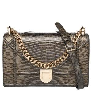 Dior Green/Black Lizard Leather Small Diorama Shoulder Bag
