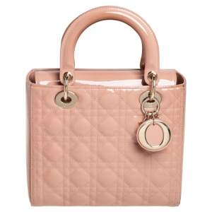 Dior Pink Cannage Patent Leather Medium Lady Dior Tote