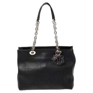 Dior Black Cannage Leather Lady Dior Chain Shopper Tote