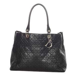 Dior Black Cannage Soft Leather Shopper Tote Bag