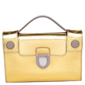 Dior Gold Leather Diorever Top Handle Bag
