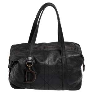 Dior Black Cannage Soft Leather D Charm Boston Bag