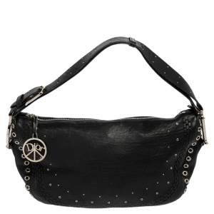 Dior Black Studded Leather Peace and Love Hobo