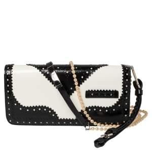 Dior Black/White Brogue Patent Leather Faux Pearl D'Trick Shoulder Bag