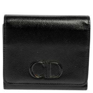 Dior Black Patent Leather Mania Trifold Wallet