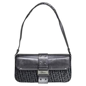 Dior Metallic Grey Canvas and Leather Street Chic Shoulder Bag