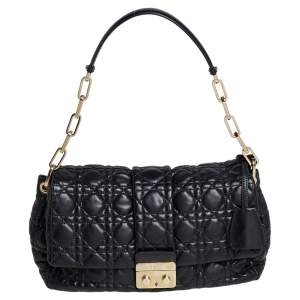 Dior Black Cannage Leather Small New Lock Flap Shoulder Bag