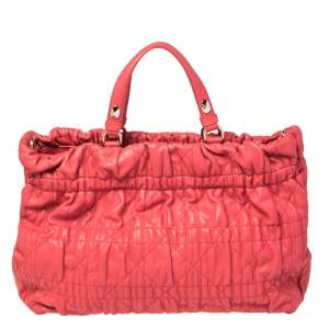 Dior Red Lipstick Cannage Leather Delices Gaufre Tote