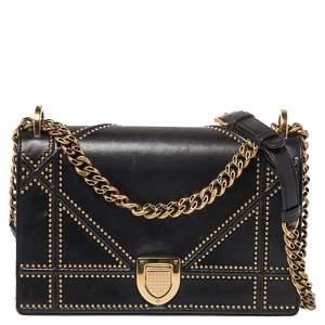 Dior Black Leather Medium Studded Diorama Flap Shoulder Bag