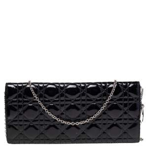 Dior Black Quilted Cannage Patent Leather Lady Dior Chain Clutch