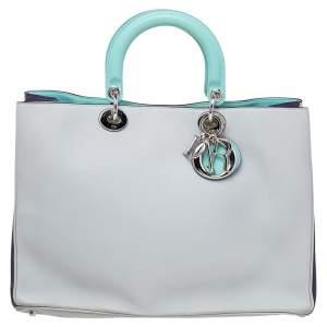 Dior Grey/Blue Leather Lady Dior Tote