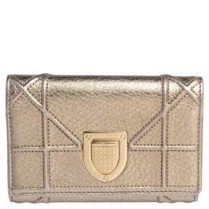 Dior Metallic Gold Leather Diorama Trifold Wallet