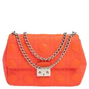Dior Orange/Pink Embroidered Stitch Cannage Leather Miss Dior Medium Flap Bag