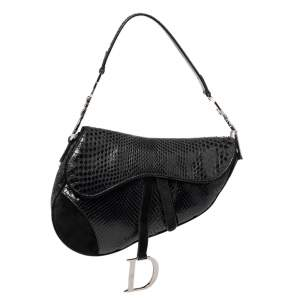 Dior Black Snakeskin and Suede Saddle Bag