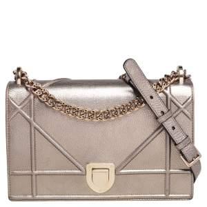 Dior Metallic Gold Leather Medium Diorama Flap Shoulder Bag